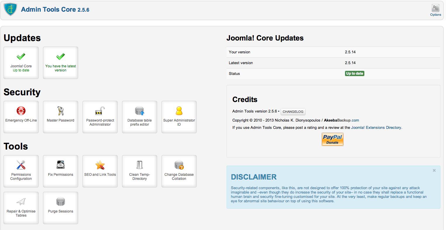 Admin Tools Control Panel